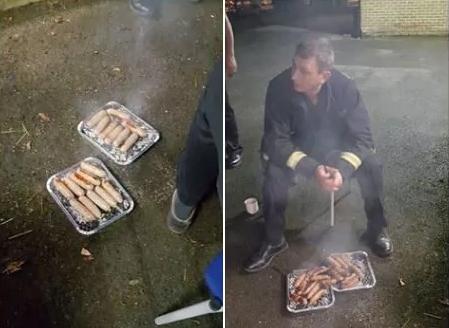 Imagem do churrasco sendo feito pelos bombeiros com as linguiças de alguns dos porcos salvos
