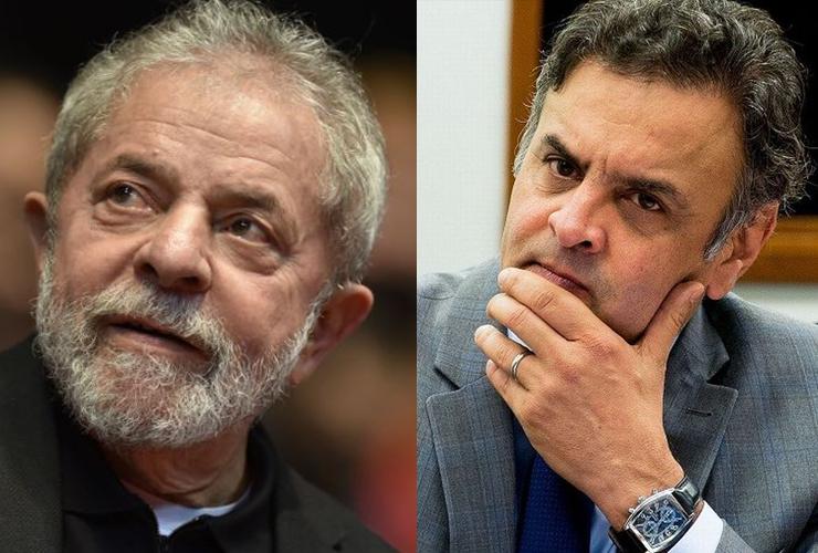 Montagem Lula e Aécio