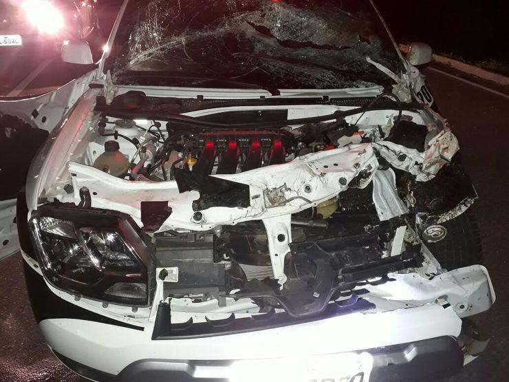 Viatura avariada após acidente