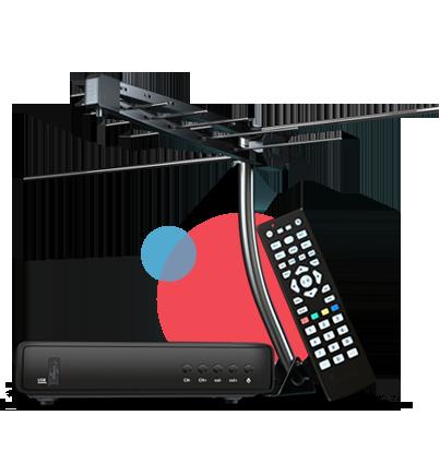 A imagem mostra um exemplo de kit para sintonizar a transmissão do sinal digital: antena (UHT) e conversor digital, que acompanha controle remoto