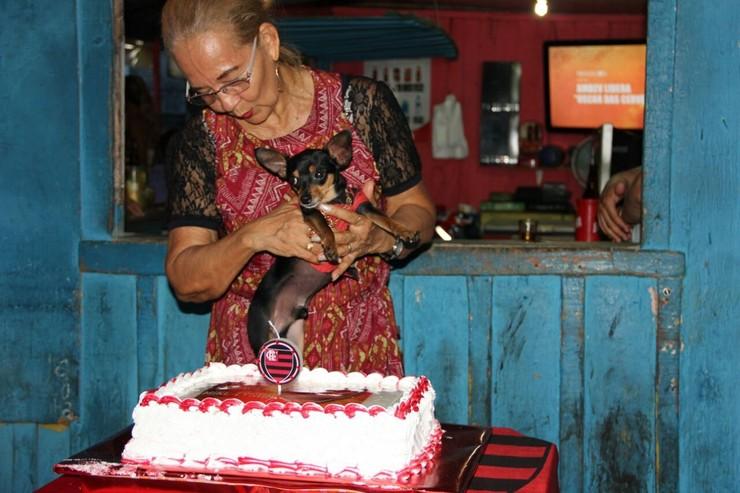 cachorro com sua dona e o bolo de aniversário