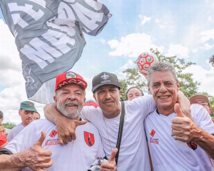 Lula e os cantores Mano Brown e Chico Buarque