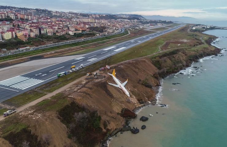 Avião derrapando em pista de pouso