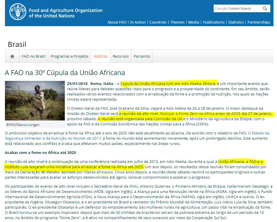 Release da FAO, noticiando a presença de Lula na 30ª Cúpula da União Africana (Foto: FAO)