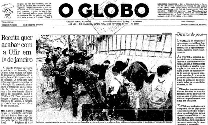 Capa do jornal O Globo de 23 de novembro de 1994