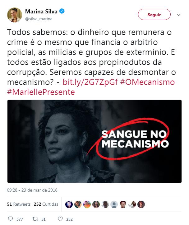 Publicação de Marina Silva (Rede) no Twitter comparou assassinato de Marielle Franco (Psol-RJ) à nova série da Netflix que conta história baseada em investigações da Operação Lava Jato. (Foto: Marina Silva/Twitter)