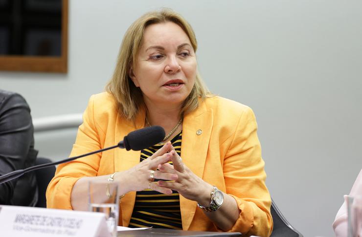 Deputada Gorete Pereira, sentada, fala ao microfone