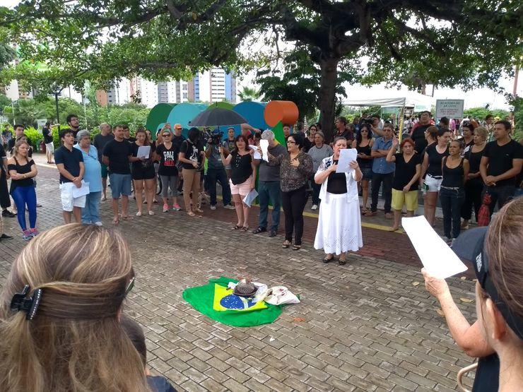 Manifestantes no Parque do Cocó