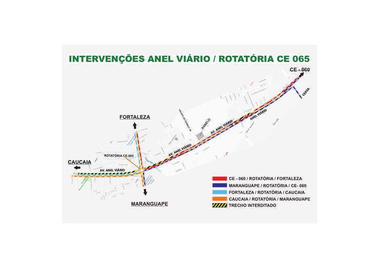 Mapa sinalizando intervenção no Anel Viário (Foto: )