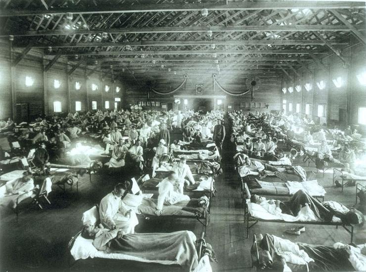 Visão de hospital militar tomado de doentes nos Estados Unidos
