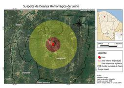 Mapa de isolamento da área com foco da Peste Suína Clássica