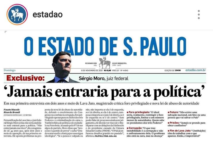 Imagem da capa do jornal O Estado de S.Paulo
