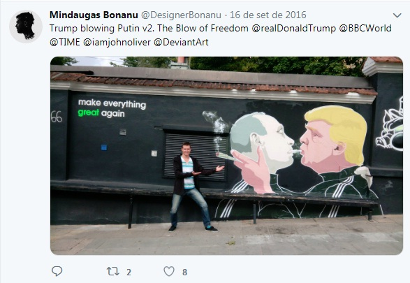 Grafite de beijo entre Trump e Putin