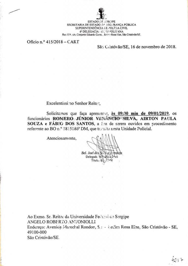 Intimação a professores da Universidade Federal do Sergipe