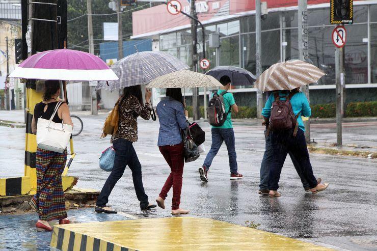 Grupo de pessoa com guarda-chuva atravessa rua